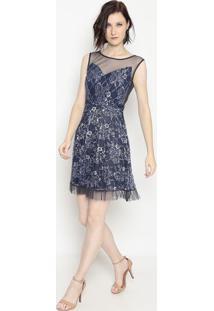 Vestido Com Plissado & Fios Metalizados- Azul Marinho & Borame