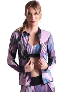 Jaqueta Com Gola Cyber - Preto/Roxo - Líquido