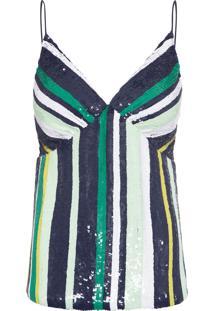 Regata Feminina Listras Maxi Paetê Bord - Azul E Verde