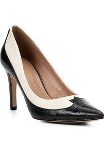 Scarpin Couro Shoestock Salto Alto Western - Feminino-Preto+Off White