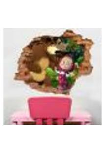 Adesivo De Parede Buraco Falso 3D Masha E O Urso - P 45X55Cm