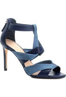 Sandália Couro Shoestock Salto Alto Bicolor Feminina