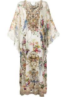 Camilla Vestido Gola V Com Estampa Floral - Branco