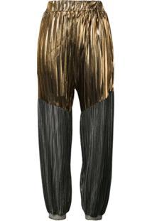 Atu Body Couture Calça Cenoura Com Pregas - Dourado