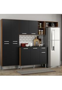 Cozinha Compacta Pequim 9 Portas Mp2933 Multimã³Veis Carvalho Avelã£/Preto Marrom - Marrom - Dafiti