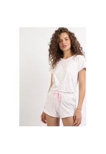 Pijama Feminino Estampado De Corações Manga Curta Decote Redondo Branca