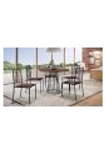 Conjunto De Mesa De Jantar Marrocos Com Tampo Siena E 5 Cadeiras Atos Couríssimo Marrom E Preto