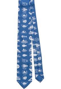 Prada Gravata Com Mitivo De Baleia - Azul