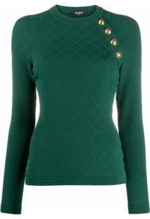 Balmain Blusa De Tricô Com Padronagem De Losangos - Verde