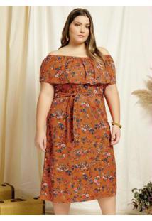 Vestido Midi Floral Marrom Ciganinha Plus Size