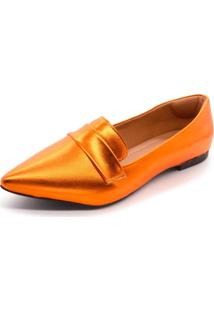 Mocassim Super Confort Bico Fino Metalizado Orange - Tricae