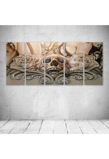 Quadro Decorativo - Caveira E Rosas - Composto De 5 Quadros