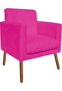 Poltrona Decorativa Thais Suede Pink Tressê Pés Palitos - D'Rossi