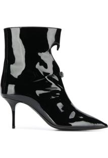 Msgm Ankle Boot Com Laço - Preto