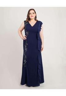 Vestido Almaria Plus Size Pianeta Longo Azul