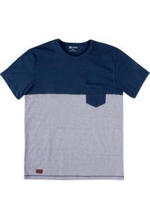 Camiseta Masculina Listrada Em Algodão Com Bolso