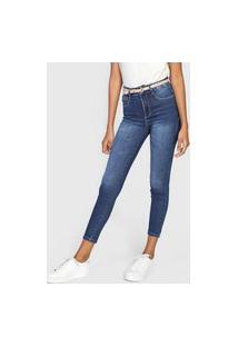 Calça Cropped Jeans Sawary Skinny Estonada Azul