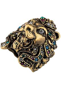 Gucci Anel De Leão Com Cristais Coloridos - Dourado