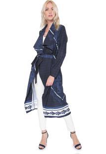 Kimono Lança Perfume Alongado Estampado Azul-Marinho