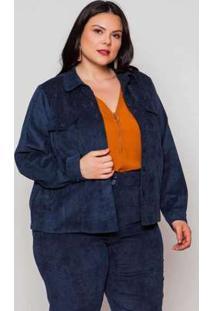 Jaqueta Almaria Plus Size Pianeta Veludo Azul Marinho Azul
