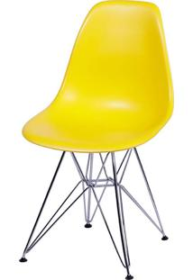 Cadeira Eames Dkr Or-1102 C/ Pés Cromados - Amarelo