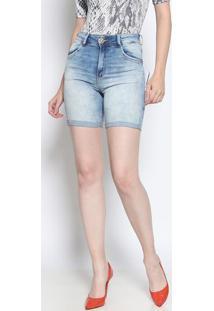 Bermuda Jeans Estonada Com Bigodes- Azul Clarodimy