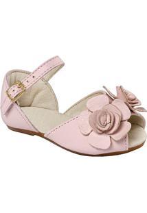 Sapatilha Peep Toe Em Couro Com Flor - Rosa Claroprints Kids