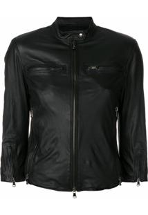 R13 Fitted Leather Jacket - Preto