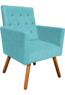 Poltrona Decorativa Nina Capitonê Suede Azul Tiffany D'Rossi
