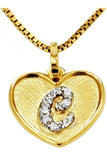 Pingente Em Ouro 18K Coração Com Letra C Com 5 Diamantes - Pg20106