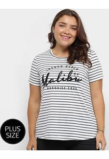 Camiseta City Lady Listrada Malibu Paradise Feminina - Feminino-Branco+Cinza