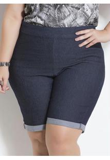 Bermuda Jeans Barra Dobrada Plus Size Marguerite