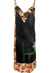 Kwaidan Editions Slip Dress Com Recorte Contrastante - Preto