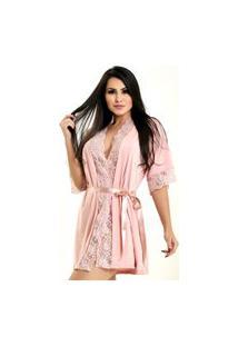 Robe Microfibra Renda Dakota Elegante Rosê