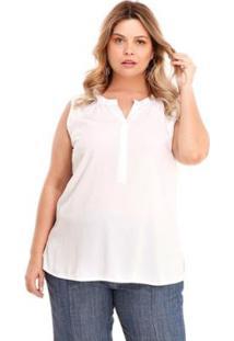 Regata Melinde Plus Size Botão Embutido - Feminino-Off White