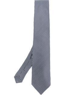 Etro Gravata Com Bordado Geométrico - Azul