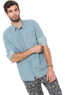 Camisa Jeans Hering Reta Azul