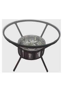 Mesa Em Fibra Sintética E Alumínio C/ Cooler Castanho Pressa Móveis