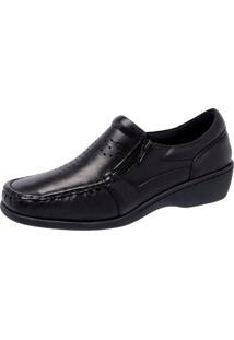 Sapato Feminino Pollystar Em Couro Mestico Preto