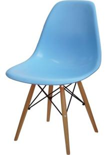 Cadeira Eames Polipropileno Azul Claro Base Madeira - 14913 - Sun House