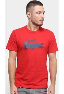 Camiseta Lacoste Crocodilo Emborrachado Masculina - Masculino-Vermelho