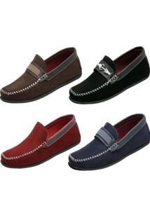 Kit 4 Mocassim Ousy Shoes Docksides Vermelho