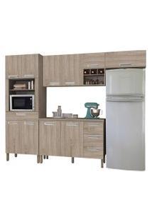 Cozinha Modulada Ametista 5 Módulos Composiçáo 2 Nogal - Kit'S Paraná