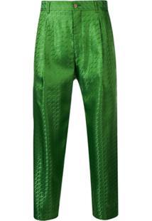 Comme Des Garçons Homme Plus Calça Cropped Estampada - Verde