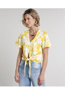 Blusa Feminina Cropped Estampada Floral Com Nó Manga Curta Decote V Amarela