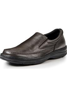 Sapato Couro Pizaflex Elástico Marrom