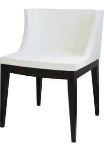 Cadeira Senhorita Base Madeira Or-1136 – Or Design - Branco / Madeira Escura