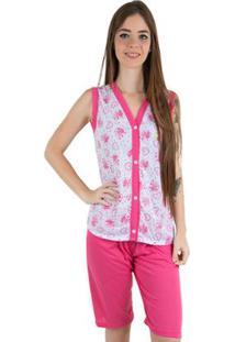 Pijama Linha Noite De Malha Pescador - Feminino-Pink