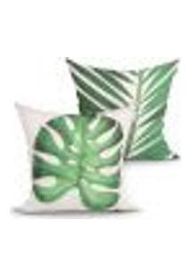 Kit Capas De Almofadas Verdes Costela De Adão Kit Com 2 Unidades 45Cm X 45Cm Com Zíper
