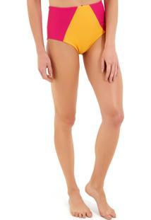 Calcinha Rosa Chá Audrey Canelado Bicolor Beachwear Amarelo Rosa Feminina (Amarelo/Rosa, G)